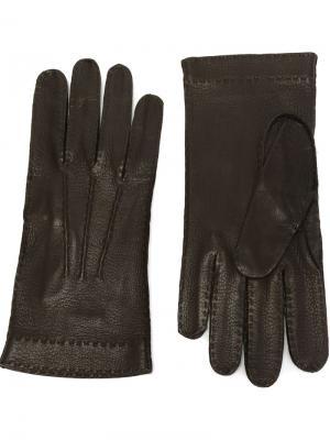 Перчатки из оленьей кожи Restelli. Цвет: коричневый
