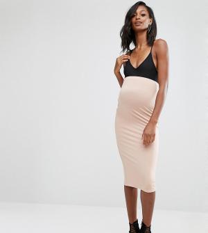 Missguided Maternity Трикотажная юбка миди для беременных. Цвет: бежевый