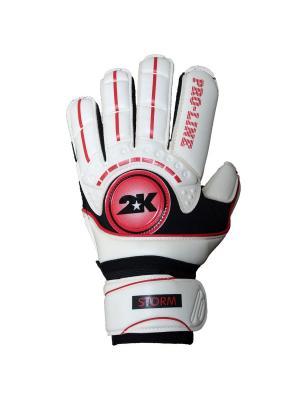 Перчатки вратарские профессиональные Storm 2K. Цвет: белый, черный, красный
