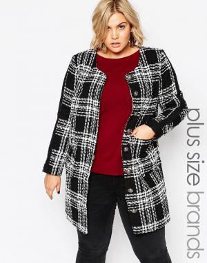 Carmakoma Пальто размера плюс в черно-белую клетку Plus Size. Цвет: черный