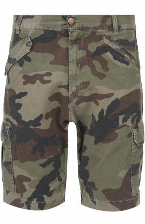 Хлопковые шорты с камуфляжным принтом 2 Men Jeans. Цвет: хаки