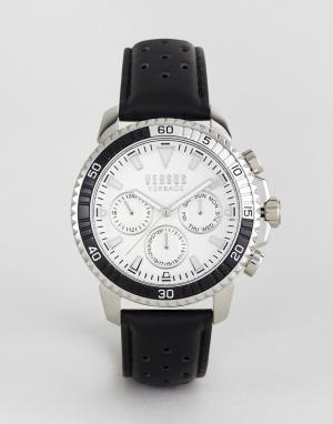 Versus Versace Часы с черным кожаным ремешком S3001 Aberdeen. Цвет: черный