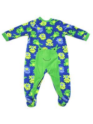 Комбинезон для сна флисовый Лягушата Little Me. Цвет: синий, зеленый
