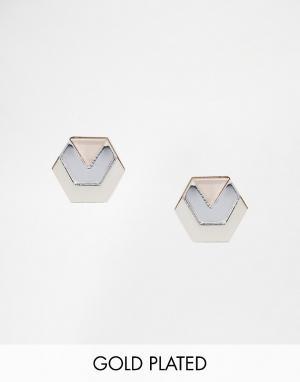 Wolf & Moon Серебристые серьги‑гвоздики в виде шестигранников. Цвет: серебряный