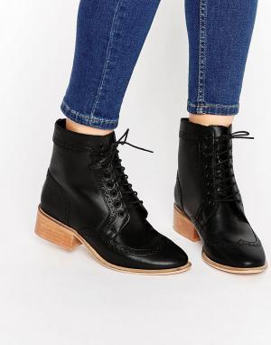 ASOS Кожаные ботинки-броги на шнуровке AMAR. Цвет: черный