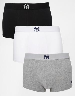 New York Yankees Комплект из 3 пар укороченных боксеров-брифов Yankee. Цвет: черный