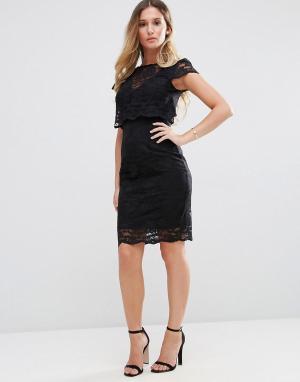 Jessica Wright Кружевное платье-футляр миди. Цвет: черный