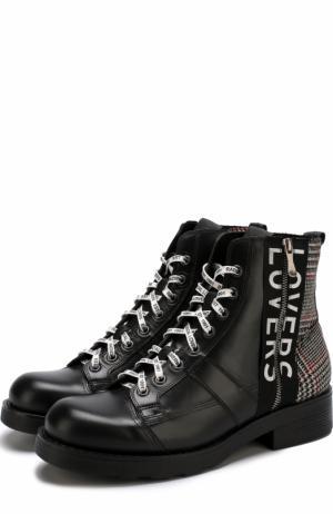 Высокие кожаные ботинки с текстильной отделкой O.X.S.. Цвет: черный