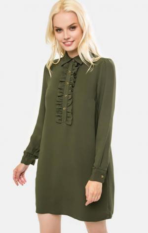 Платье с длинными рукавами цвета хаки MICHAEL Kors. Цвет: хаки