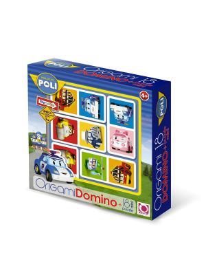 Робокар Поли. Настольная игра Домино. Пазл 18 элементов в подарок. Robocar Poli. Цвет: белый, синий, красный