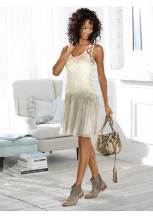 Платье Linea Tesini. Цвет: песочный