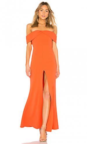 Вечернее платье с открытыми плечами danica Lovers + Friends. Цвет: оранжевый