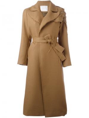 Декорированное пальто с поясом Giada Benincasa. Цвет: коричневый