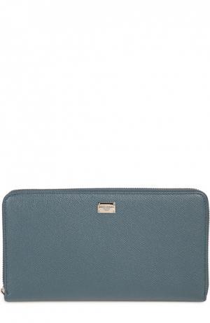 Кожаный футляр для документов на молнии Dolce & Gabbana. Цвет: морской волны