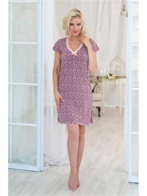 Ночная сорочка Mia Cara. Цвет: розовый, светло-коричневый