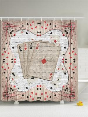 Фотоштора для ванной Любопытный тигр, старое окно, рыболовные блёсны, игра в покер, 180x200 см Magic Lady. Цвет: бежевый, красный, серый, черный