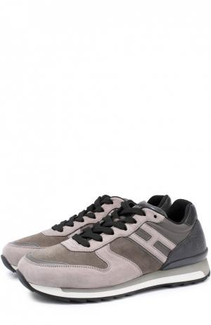 Замшевые кроссовки на шнуровке с контрастной отделкой Hogan. Цвет: серый