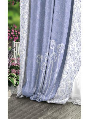 Штора (1 шт.), Волшебная ночь, 220*270см., ткань-Габардин, стиль-Прованс, дизайн-Navy ночь. Цвет: голубой, белый