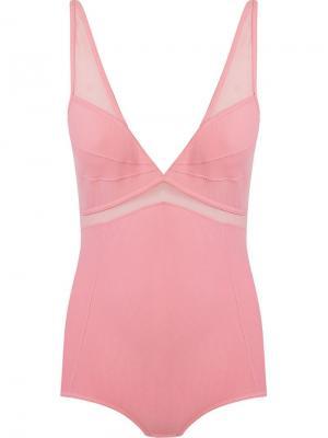 Tulle panel bodysuit Giuliana Romanno. Цвет: розовый и фиолетовый