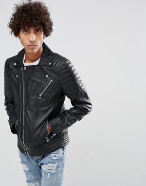 Goosecraft Кожаная байкерская куртка черного цвета с нагрудным карманом Goosecraf. Цвет: черный