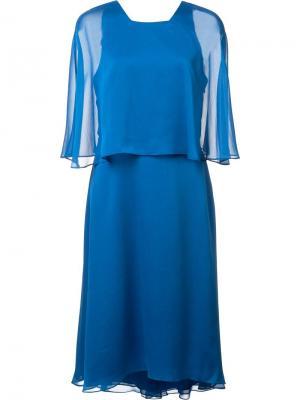Платье с прозрачными рукавами Halston Heritage. Цвет: синий