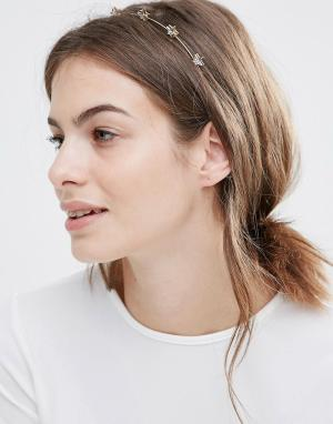Orelia Ободок на голову с декоративной отделкой звездами. Цвет: золотой