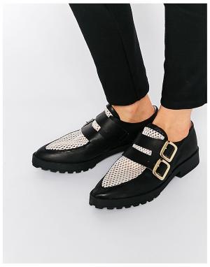 Miista Кожаные туфли с пряжками на плоской подошве Bhu. Цвет: розовый