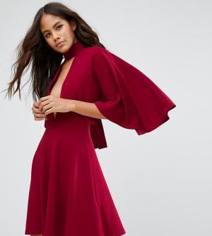 ASOS Tall Платье-кимоно мини с горловиной-чокер. Цвет: красный