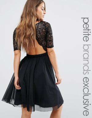 John Zack Petite Платье миди для выпускного с кружевным лифом и вырезами Peti. Цвет: черный