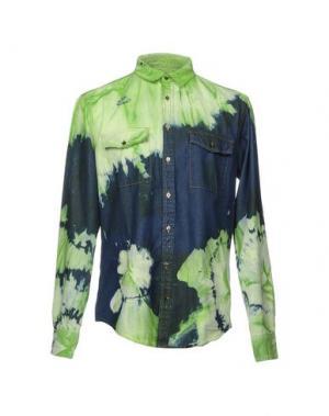 Джинсовая рубашка MSGM. Цвет: кислотно-зеленый