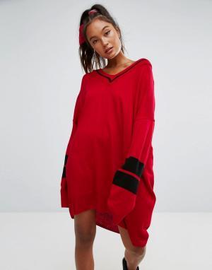 ASOS Трикотажное платье с V-образным вырезом и отделкой в спортивном стиле. Цвет: красный