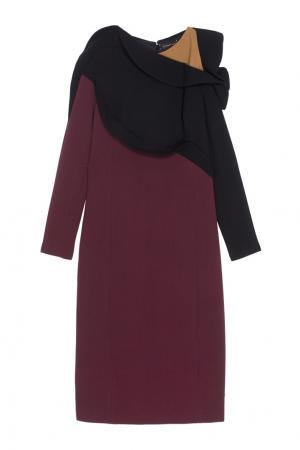 Шерстяное платье Chapurin. Цвет: бордовый, черный