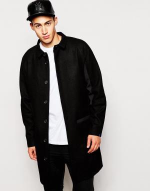 2 x H Brothers Шерстяное пальто 2xH. Цвет: черный