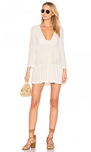 Ярусное мини-платье с квадратным вырезом Stillwater. Цвет: белый