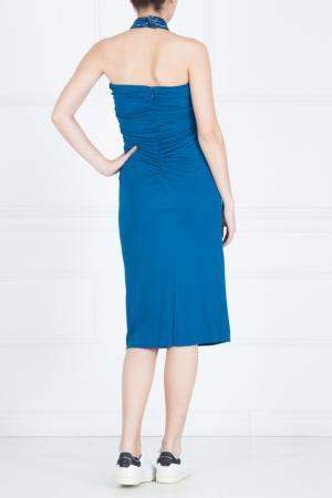 Платье из вискозы Azzaro. Цвет: голубой