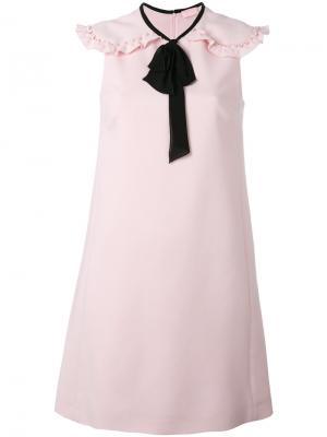 Платье шифт с оборками Giamba. Цвет: розовый и фиолетовый