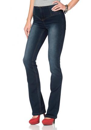 Моделирующие джинсы клеш Arizona. Цвет: потертый, голубой потертый, темно-синий потертый, черный