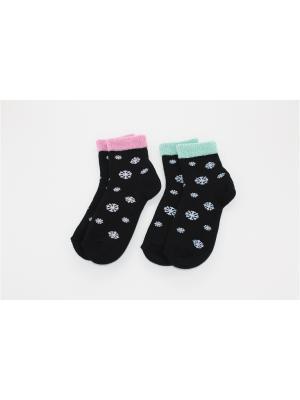 Носки, 2 пары Гамма. Цвет: черный, зеленый, розовый