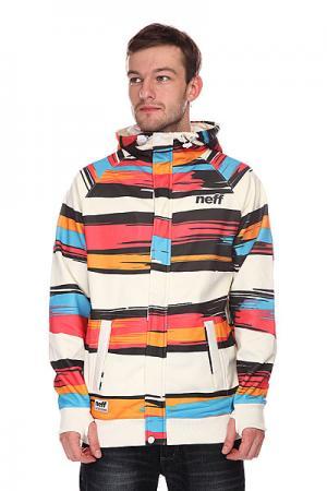 Толстовка сноубордическая  Painted Stripe Shred White/Red Neff. Цвет: мультиколор