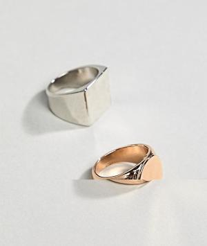 ASOS Набор колец с печатками (золотистый/серебристый) DESIGN. Цвет: мульти