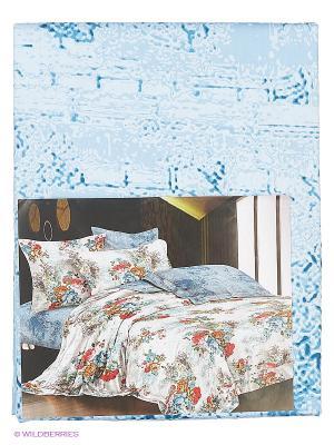 Комплект постельного белья ЕВРО сатин, рисунок 673 LA NOCHE DEL AMOR. Цвет: голубой