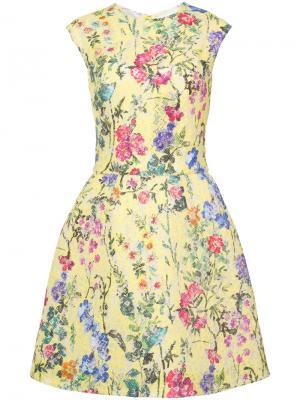 Floral lace structured dress Monique Lhuillier. Цвет: жёлтый и оранжевый