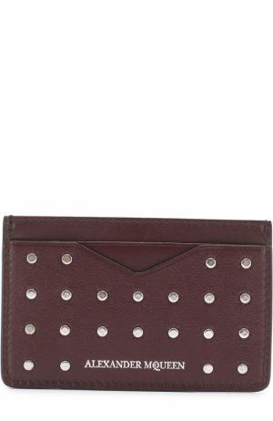 Кожаный футляр для кредитных карт с заклепками Alexander McQueen. Цвет: бордовый