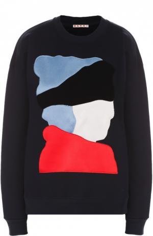 Хлопковый свитшот свободного кроя с яркой отделкой Marni. Цвет: темно-синий