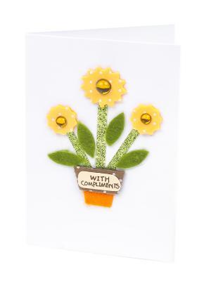 Открытка Желтые цветы, 8*12 см. DEEPOT. Цвет: зеленый, белый, желтый, рыжий