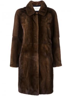 Пальто Beline из меха норки Sprung Frères. Цвет: коричневый