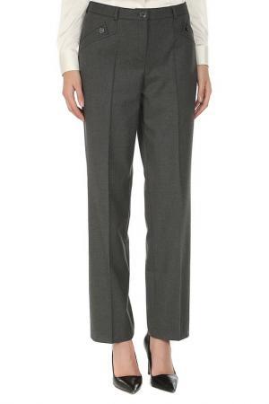 Прямые брюки с поясом на шлевках YARMINA. Цвет: серый