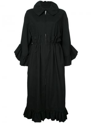 Пальто с отделкой оборками Goen.J. Цвет: чёрный