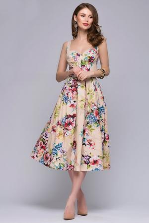 Платье 1001dress. Цвет: бежевый, цветочный принт