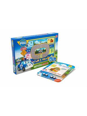 Настольная игра Робокар Поли Кто быстрее с 3D пазлом-конструктором в комплекте. Robocar Poli. Цвет: синий, зеленый, розовый